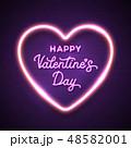 ネオン バレンタイン ハートのイラスト 48582001