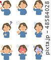女性 表情 ポーズのイラスト 48584028
