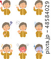 女性 表情 ポーズのイラスト 48584029