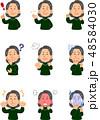 女性 表情 ポーズのイラスト 48584030