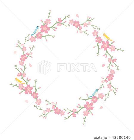桜の花と小鳥のフレーム 48586140