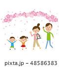 桜 家族 ベクターのイラスト 48586383