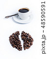 Cup of coffee and coffee beans 48590591