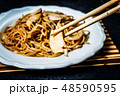 Asian noodles with chicken meat 48590595