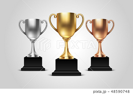 Vector 3d Blank Golden, Silver and Bronze Champion Cup Icon Set Closeup Isolated on White Background 48590748