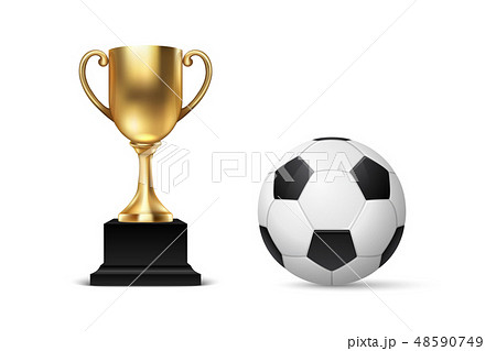 Realistic Vector 3d Blank Golden Champion Cup Icon wirh Soccer Ball Set Closeup Isolated on White 48590749
