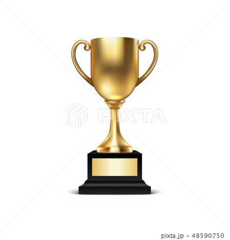 Realistic Vector 3d Blank Golden Champion Cup Icon Closeup Isolated on White Background. Design 48590750