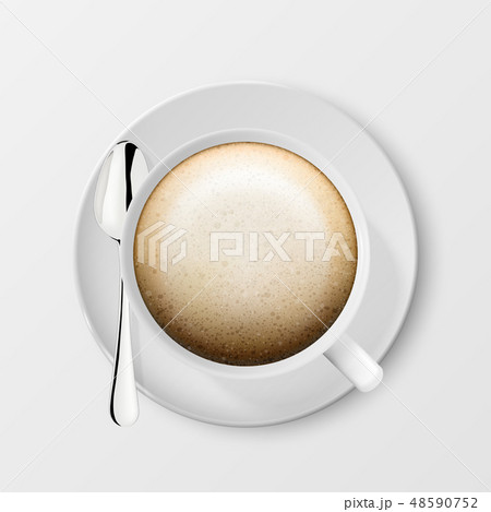Realistic Vector 3d Glossy Blank White Coffee Cup or Mug with Cappuccino and Tea or Coffee Spoon 48590752