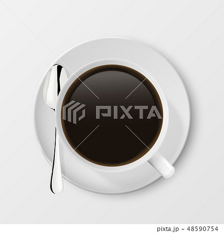 Realistic Vector 3d Glossy Blank White Coffee Cup or Mug with Americano, Espresso and Tea or Coffee 48590754