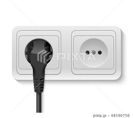 Realistic Vector 3d Black Plug Inserted in a Wall Socket Icon Closeup Isolated on White Background 48590756