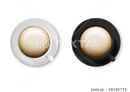 Realistic Vector 3d Glossy Blank White and Black Coffee Cup or Mug Icon Set with Cappuccino Closeup 48590759
