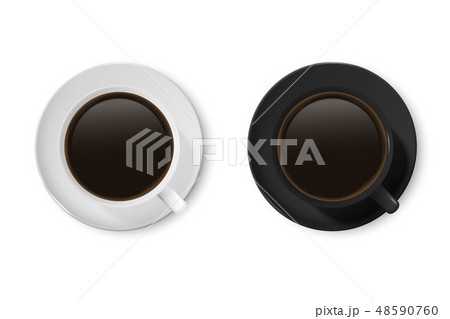 Realistic Vector 3d Glossy Blank White and Black Coffee Cup or Mug Icon Set with Americano, Espresso 48590760