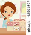 女子 お人形さん 人形のイラスト 48591697