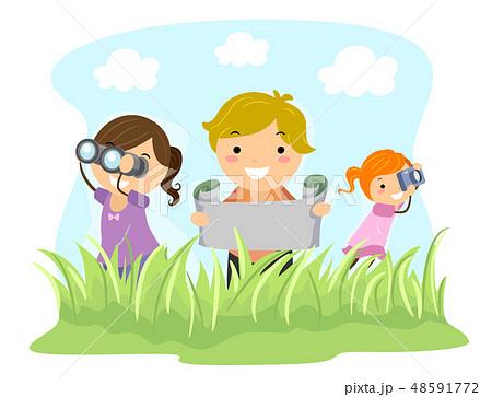 Stickman Kids Outdoor Adventure Illustration 48591772