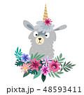 花 リーフ 葉のイラスト 48593411