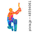 Abstract batsman playing cricket from splash of watercolors 48594061