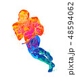 Abstract running American football player from splash of watercolors 48594062