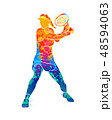 Abstract tennis player with a racket from splash of watercolors 48594063