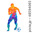 Abstract professional soccer player quick shooting a ball from splash of watercolors 48594065