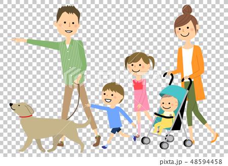 ファミリー 二世代家族 散歩 48594458