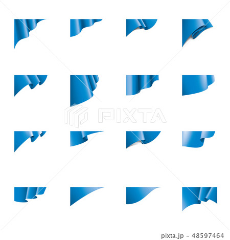 Waving the blue flag on a white background 48597464
