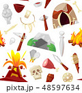Stone age vector primeval neanderthal stoned weapon axe and prehistoric primitive spear of ancient 48597634