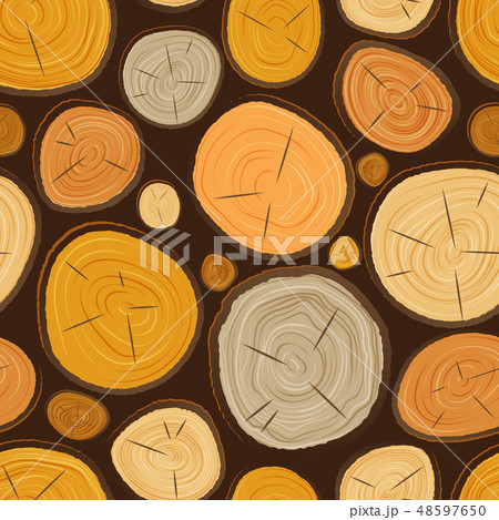 Vector tree wood slice texture circle cut wooden raw material. Plant years history textured rough 48597650