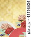 背景素材-日本画-牡丹-和柄-扇-金箔 48598026
