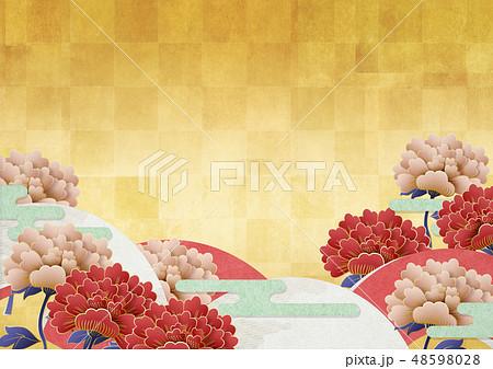 背景素材-日本画-牡丹-和柄-扇-金 48598028