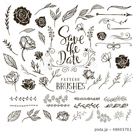 Collection of design elements for wedding invitation 48603761