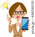 スマートフォン 閃く 思いつくのイラスト 48608030