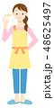 エプロンの女性 OKサイン 48625497