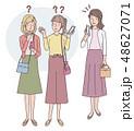 女性 外国人 スマートフォンのイラスト 48627071
