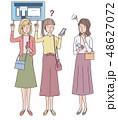女性 外国人 スマートフォンのイラスト 48627072