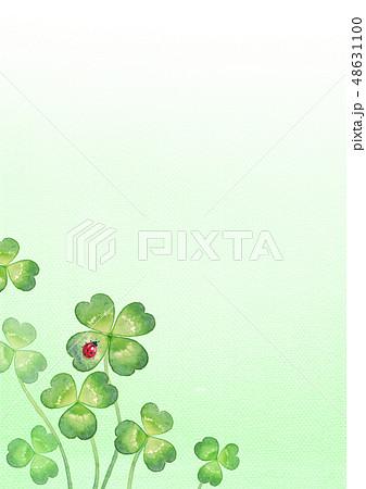 背景:四つ葉のクローバーとてんとう虫(3) 48631100