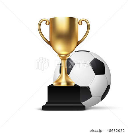 Realistic Vector 3d Blank Golden Champion Cup Icon wirh Soccer Ball Set Closeup Isolated on White 48632022