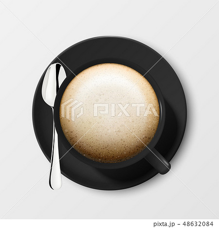 Realistic Vector 3d Glossy Blank Black Coffee Cup or Mug with Cappuccino and Tea or Coffee Spoon 48632084