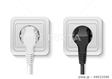 Realistic Vector 3d White and Black Plug Inserted in a Wall Socket Set Closeup Isolated on White 48632086