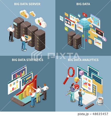 Big Data Analytics Isometric Icon Set 48635457