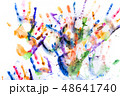 A lot of multicolored hand prints on white 48641740