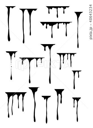 Hand drawn paint splatter, melt. Liquid leak. Ink drops. Vector isolated templates. 48643234