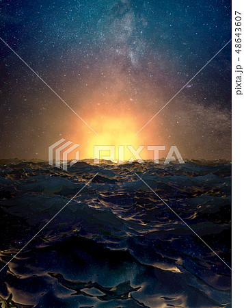 Dramatic sunset over the wavy surface of the ocean 48643607