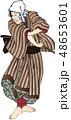 町人 ポーズ 浮世絵のイラスト 48653601