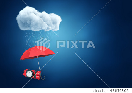 3d rendering of an umbrella protecting the bundle of dynamite with a time bomb from the rain, with 48656302