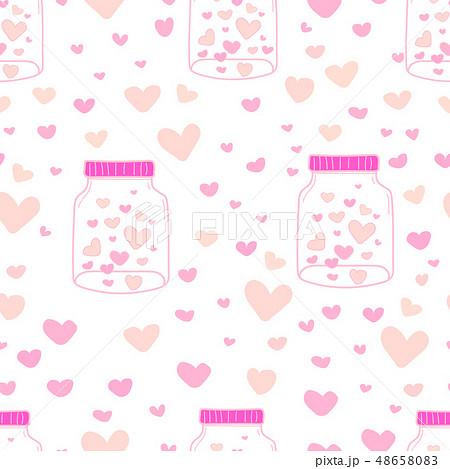 Heart in mason jars pattern background. 48658083
