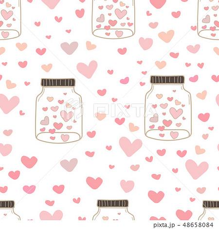 Heart in mason jars pattern background. 48658084