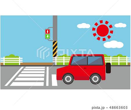 車 自動車 運転 トラック 信号 信号機 48663603