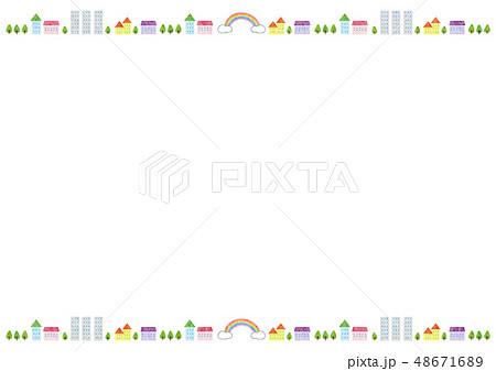 フレーム素材 可愛い風景2テクのイラスト素材 48671689 Pixta