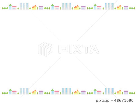 フレーム素材 可愛い風景3のイラスト素材 48671690 Pixta