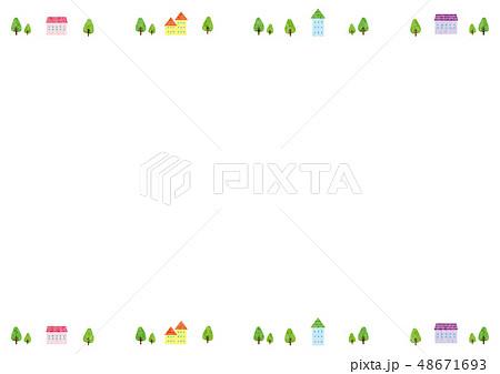 フレーム素材 可愛い風景4テクのイラスト素材 48671693 Pixta
